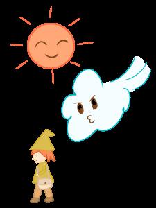 北風と太陽のイラスト