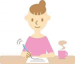 書類を書く女性のイラスト